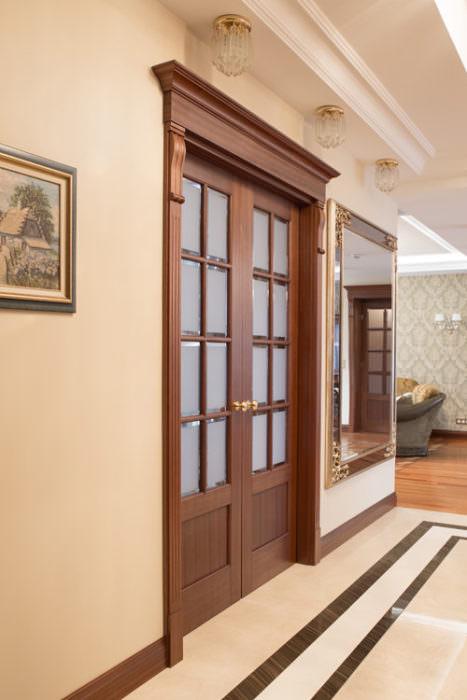 Rozsuwane 2-skrzydłowe drzwi drewno mahoń